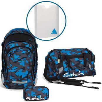 Satch Schulrucksack-Set 4-tlg Match Blue Triangle