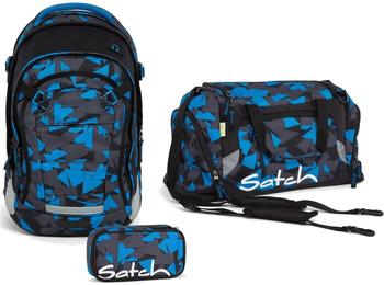 Satch Schulrucksack-Set 3-tlg Match Blue Triangle