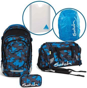 Satch Schulrucksack-Set 5-tlg Match Blue Triangle