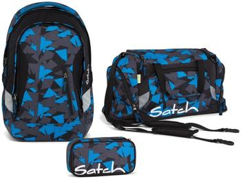 Satch Schulrucksack-Set 3-tlg Blue Triangle 9D6 dreiecke blau