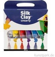 Creativ Company Silk Clay® Creamy Set 2 74136 Töpferei-Modellier-Material Knetmasse Blau, Grün, Violett, Rot, Weiß, Gelb 6 Stück(e)