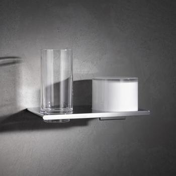 Keuco Edition 400 Doppelhalter mit Glas und Lotionspender 215x135x120mm chrom (11553019000)