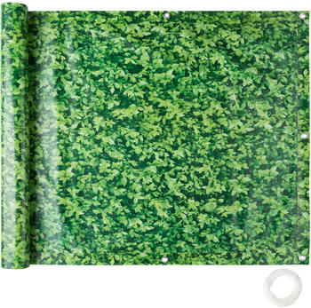 TecTake Balkon Sichtschutz Variante 1 grünes Laub 90cm (402711)