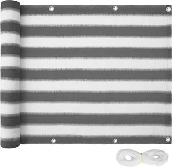 TecTake Balkon Sichtschutz Variante 2 weiß/grau gestreift 90cm (402883)