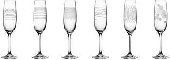 Leonardo Sektglas CASELLA 6er-Set mit Diagravur, Kristallglas, Klar, 130 ml, 061798