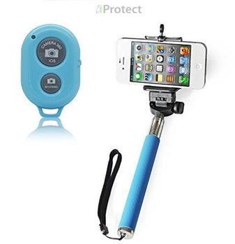 iProtect 2in1 Selfie Set Selfie Stick + Bluetooth Fernauslöser blau