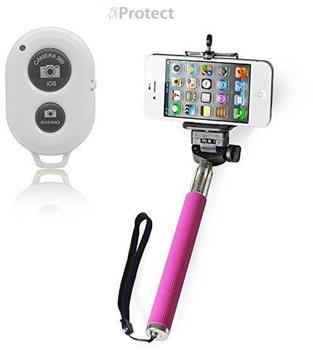 iProtect 2in1 Selfie Set Selfie Stick + Bluetooth Fernauslöser pink