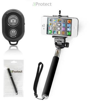 iProtect 2in1 Selfie Set Selfie Stick + Bluetooth Fernauslöser schwarz