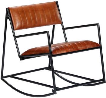 vidaXL Rocking Chair in Brown Leather