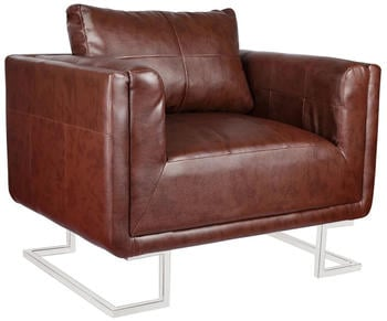 vidaXL Cube Chair in Brown Fake Leather and Chrome Legs