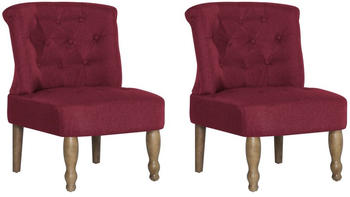 vidaXL French Chair in Burgundy Fabric