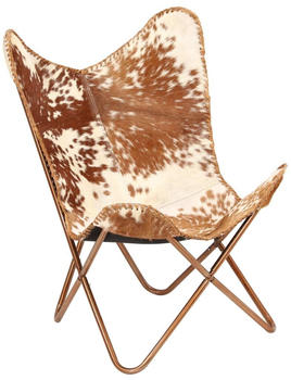 vidaXL Butterfly Chair Leather Brown/White