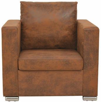 vidaXL Armchair Fake Leather Suede Brown