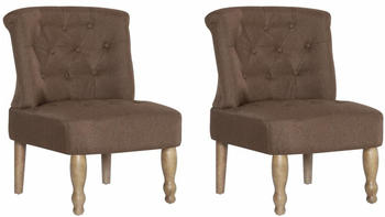 vidaXL French Chair in Brown Fabric