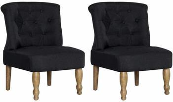 vidaXL French Chair in Black Fabric