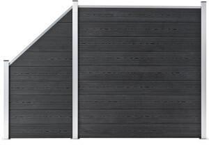 VidaXL vidaXL WPC Zaun-Set 1 Quadrat + 1 Schräge 273x186 cm Grau (3054431)