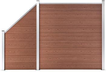 VidaXL vidaXL WPC Zaun-Set 1 Quadrat + 1 Schräge 273x186 cm Braun (3054430)