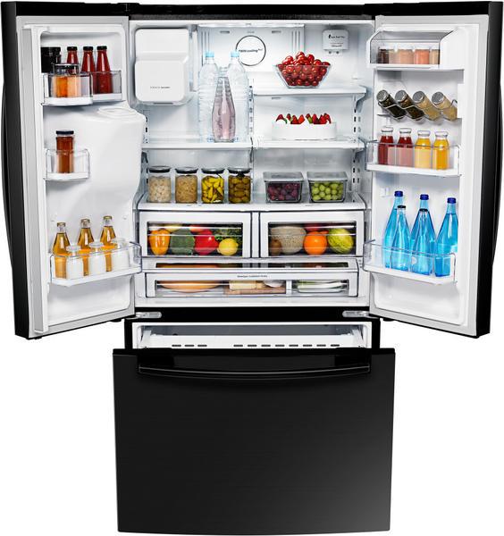 schwarz Samsung RFG23UEBP dreitüriger Kühl-Gefrierschrank
