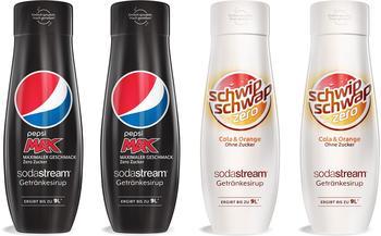 Sodastream Getränke-Sirup PepsiMax & SchwipSchwap Zero, 4 Stück, für bis zu 9 Liter Fertiggetränk