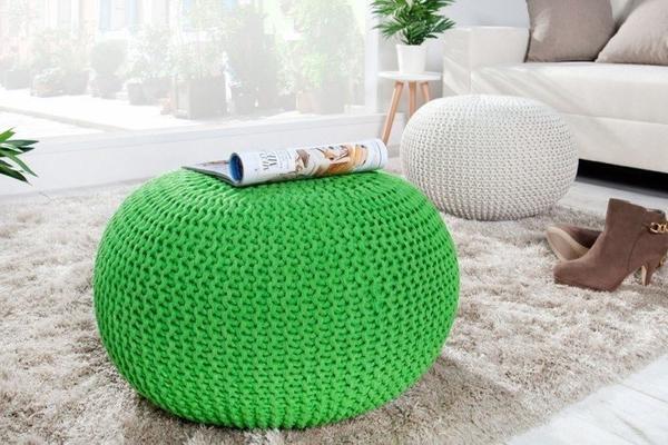 Invicta Design Pouf LEEDS 50cm Strick lemon