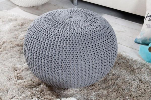 Invicta Design Pouf LEEDS 50cm Strick grau