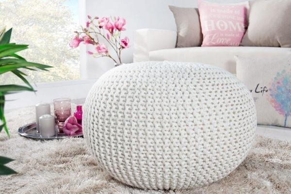 Invicta Design Pouf LEEDS 50cm Strick weiß