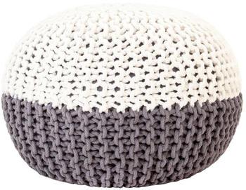 vidaXL Bean Bag Cube Hand Knitted Cotton 50 x 35 cm White/Grey