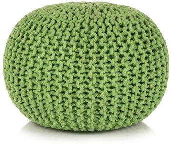 vidaXL Bean Bag Cube Hand Knitted Cotton 50 x 35 cm Green