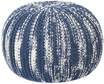 vidaXL Bean Bag Cube Hand Knitted Wool 50 x 35 cm Blue/White