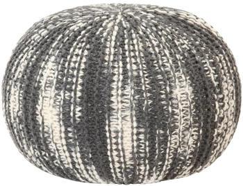 vidaXL Bean Bag Cube Hand Knitted Wool 50 x 35 cm Grey/White