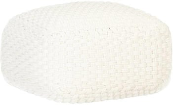 vidaXL Bean Bag Cube Hand Knitted 50 x 50 x 30 cm White
