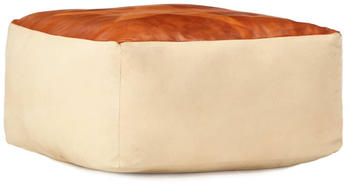 vidaXL Bean Bag Sable in Cotton and Leather Star Beige/Brown