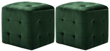 vidaXL Cube Bean Bag Green Velvet (2 Pieces)