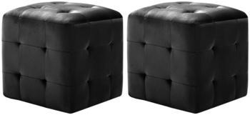 vidaXL Cube Bean Bag Black Velvet (2 Pieces)
