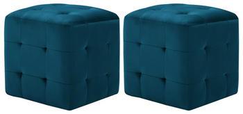 vidaXL Cube Bean Bag Blue Velvet (2 Pieces)