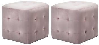 vidaXL Cube Bean Bag Pink Velvet (2 Pieces)