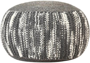 vidaXL Bean Bag Cube Hand Knitted Cotton 50 x 35 cm Dark Grey/White