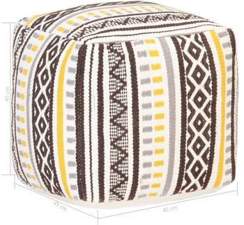 vidaXL Cube Beanbag Multicolor Cotton Yellow/Grey