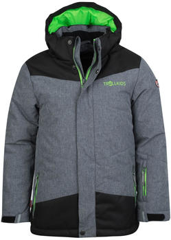 Trollkids Kids Norefjell Jacket grey melange/bright green