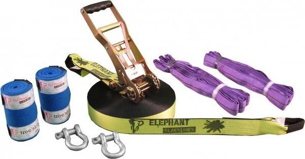 Elephant Slacklines Freak Flashline-Set Slackline 25m neon-gelb