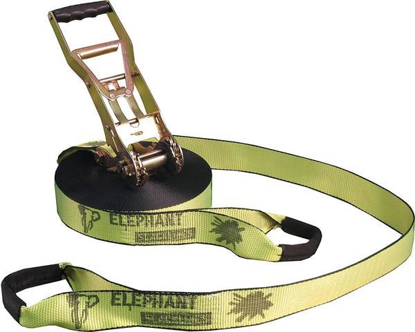 Elephant Slacklines Addict Flashline-Set Slackline 25m neon-gelb