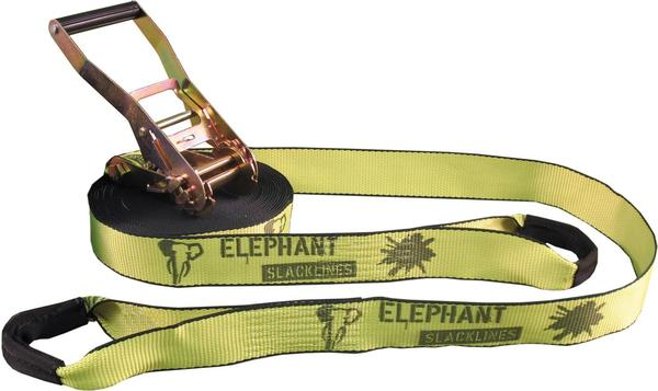 Elephant Slacklines Rookie Flashline-Set 15 m neon-gelb