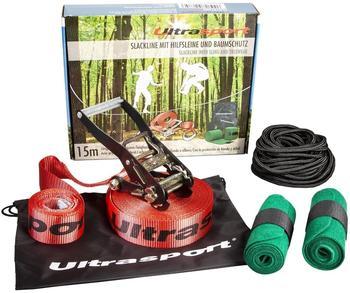 Ultrafit Slackline Set 15 m inkl. Baumschutz und Hilfsseil