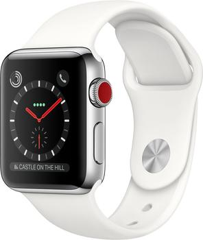 Apple Watch Series 3 GPS + Cellular Stainless Steel 38mm Soft White Sport Band