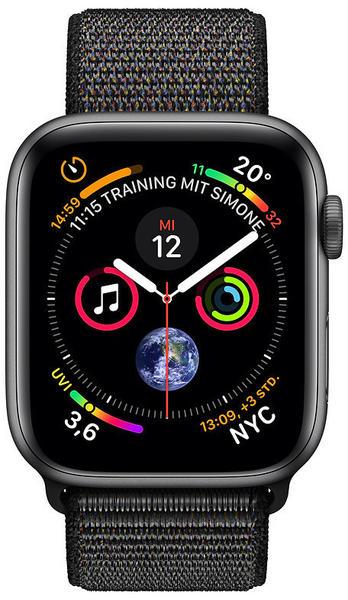 Apple Watch Series 4 GPS 44mm Space Grau Aluminum Sport Loop schwarz