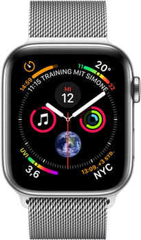 Apple Watch Series 4 GPS + Cellular 40mm silber Edelstahl Armband Milanaise silber