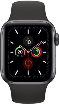 Apple Watch Series 5 GPS 44mm Aluminium Space Grau Sportarmband Schwarz