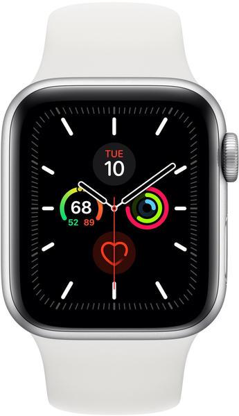 Apple Watch Series 5 GPS 44mm Aluminium silber Sportarmband weiß