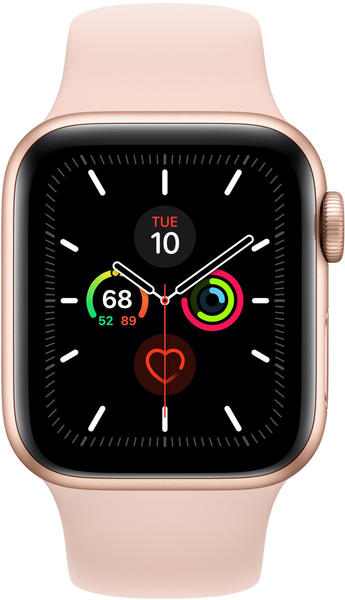 Apple Watch Series 5 GPS 44mm Aluminium gold Sportarmand sandrosa