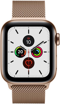 Apple Watch Series 5 GPS + LTE 44mm Edelstahl gold Milanaise gold
